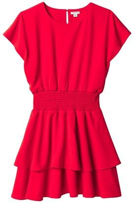 Habitual Multi Tiered Crepe Dress (Big Kids) (Red) Girl's Dress