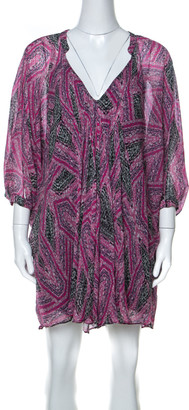 Diane von Furstenberg Pink Printed Silk Fleurette Short Dress XS