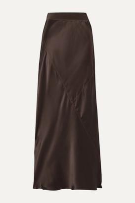 ATM Anthony Thomas Melillo Paneled Silk-satin Midi Skirt - Chocolate