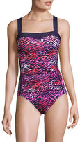 I.N.C International Concepts One-Piece Zig-Zag Shirred Swimsuit