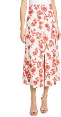 Rebecca Taylor Scarlet Embroidered Linen Midi Skirt