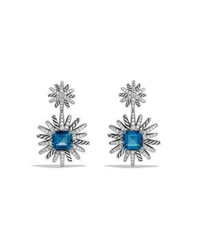 David Yurman 19mm Diamond & Hampton Blue Topaz Starburst Earrings