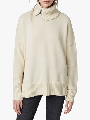 AllSaints Witby Zipped Roll Neck Jumper, Chalk White