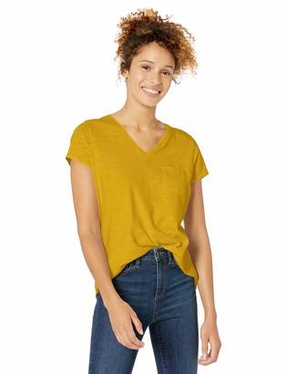 Goodthreads Amazon Brand Women's Vintage Cotton Pocket V-Neck T-Shirt