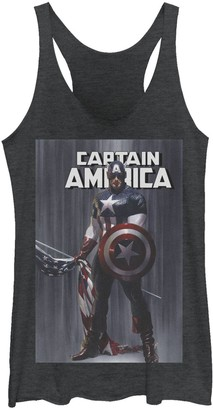 Licensed Character Juniors' Marvel Captain America Flag Comic Cover Tank Top