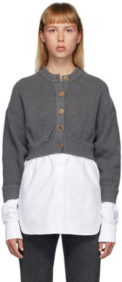 Alexander Wang Grey Bi-Layer Oxford Shirting Cardigan