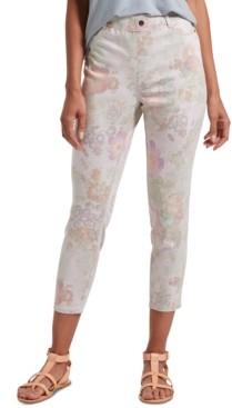 Hue Women's Floral-Print Ultra Soft Denim High-Waist Capri Leggings