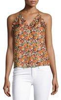 Rebecca Taylor Moonlight Floral-Print Sleeveless Tank Top, Orange Multi