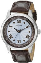 GUESS Men's U0662G2 Classic Brown Watch with Sky Blue Dial