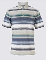 M&S Collection Big & Tall Pure Cotton Striped Polo Shirt