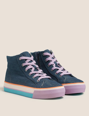 Marks and Spencer Kids' Denim Rainbow High Top Trainers (13 Small - 6 Large)