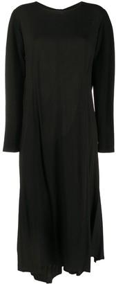 Yohji Yamamoto Draped Contrast Sleeve Midi Dress