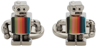 Paul Smith Silver and Multicolor Robot Cufflinks