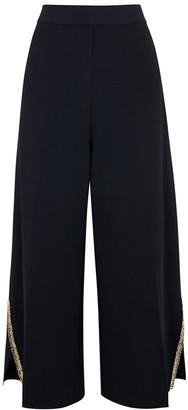 Stella McCartney Navy embellished wide-leg trousers