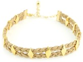 Vanessa Mooney The Carole Yellow Gold Plated Braided Faux Suede Diamond-Cut Stud Choker