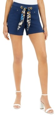 INC International Concepts Inc Petite Printed-Tie Shorts, Created for Macy's