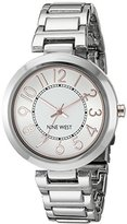 Nine West Women's NW/1893SVRT Easy to Read Silver-Tone Bracelet Watch