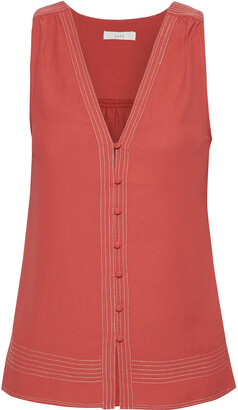 Joie Tadita Textured-crepe Top