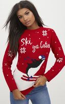 PrettyLittleThing Red Penguin Pom Pom Christmas Jumper