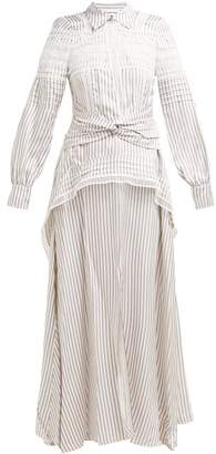 Self-Portrait Self Portrait Guipure-lace Striped Satin Shirtdress - Womens - Blue White