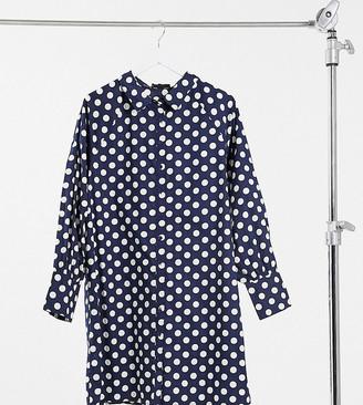 Wednesday's Girl Curve relaxed mini shirt dress in polka dot