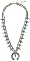 Steve Madden Double Beaded Strand w/ Turquoise Bead Horseshoe Pendant Necklace Necklace