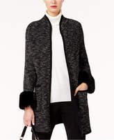 Alfani Faux-Fur-Cuff Sweater Coat, Created for Macy's