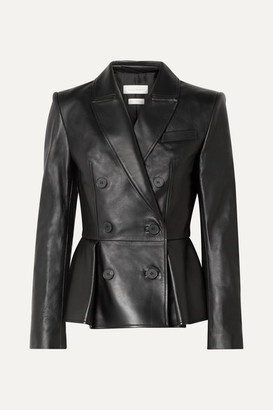 Exact Product: Kendall Jenner Black Leather Jacket Street Style Autumn Winter 2020, Brand: Alexander McQueen, Available on: shopstyle.com, Price: $1898