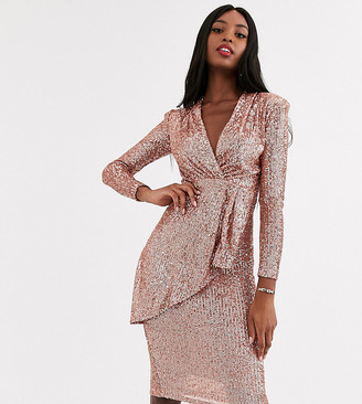 John Zack Tall plunge front sequin wrap midi dress in rose gold