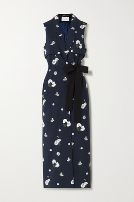 Erdem Rian Belted Embroidered Cotton-canvas Vest - Navy
