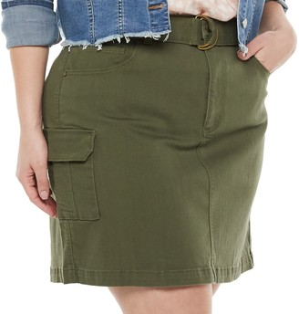 Plus Size EVRI Belted Utility Skirt