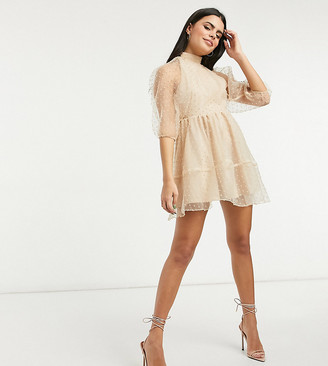 ASOS DESIGN Petite dobby organza high neck strappy back smock mini dress in beige