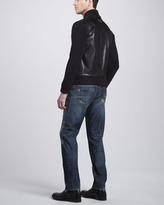 Dolce & Gabbana Leather Jacket with Knit Sleeves