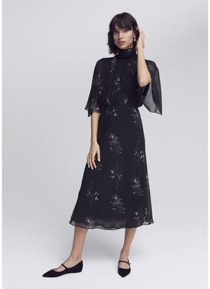 G. Label Mari High-Neck Flutter-Sleeve Mid-Length Dress
