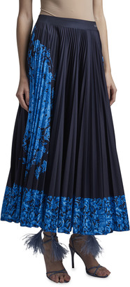 Valentino Placement-Print Pleated Jersey Midi Skirt