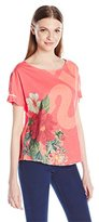 Desigual Women's Pink Oversize T-Shirt