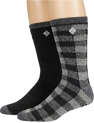 Columbia Buffalo Plaid Wool Crew 2-Pack (Black/Black) Men's Crew Cut Socks Shoes