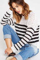 BCBGeneration Striped Tape Yarn Sweater - White