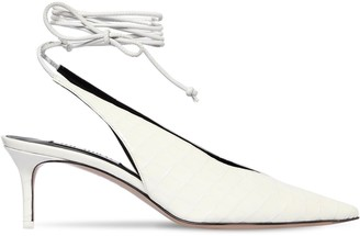ATTICO 50mm Croc Embossed Leather Lace-Up Pumps