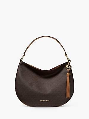 Michael Kors MICHAEL Brooke Large Leather Logo Hobo Bag, Brown/Acron
