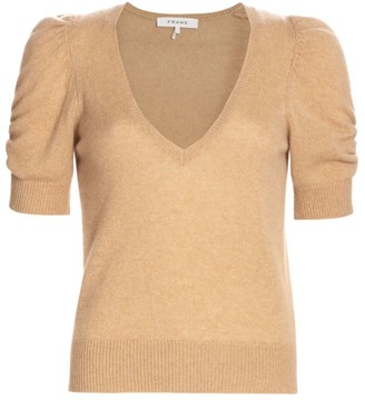 Frame Frankie Recycled Cashmere & Wool Puff-Sleeve Sweater