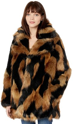 7 For All Mankind Chevron Faux Fur Coat (Brown Black) Women's Clothing