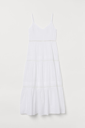 H&M V-neck Cotton Dress - White