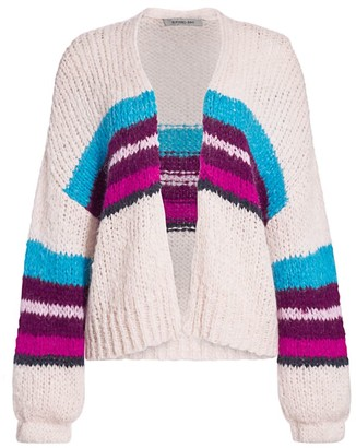 360 Cashmere Izabel Stripe Open-Front Wool-Blend Cardigan