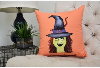 "Maser Hat Halloween Throw Pillow The Holiday Aisle Color: Orange, Size: 16"" x 16"""
