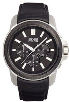 HUGO BOSS Chronograph Leather Strap Watch, 46mm
