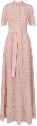 Lela Rose Lace Flutter-Sleeve Gown