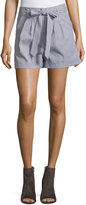 Romeo & Juliet Couture Striped Waist-Tie Shorts, Blue/White