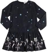 Molo Cats Universe Print Cotton Poplin Dress