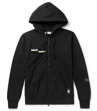 Moncler Genius 7 Fragment Appliqued Printed Loopback Cotton-Jersey Zip-Up Hoodie